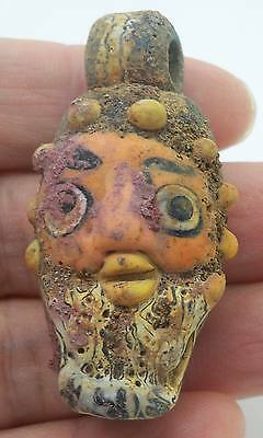 One Old Phoenician Head Art Face Glass Mosaic Bead Pendant Handmade NY28