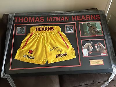 Framed Tommy Hearns Hand Signed Boxing Shorts World Champion The Hitman