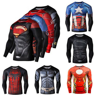 Super Hero Marvel T-shirt Long Sleeve Compression Sport 3D Men Fitness Cycling