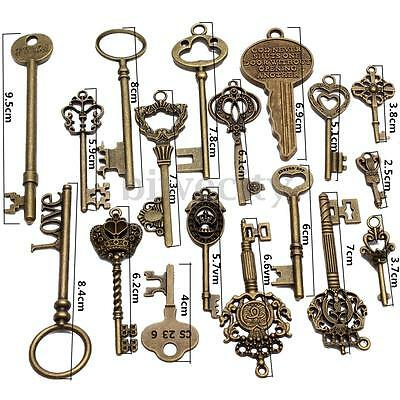 18Pcs Old Look Antique Bronze Skeleton Key Pendant Heart Bow Lock Steampunk Set