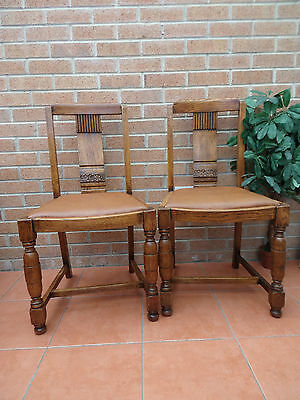 Pair Of Solid Oak Cottage Farmhouse Dining Chairs