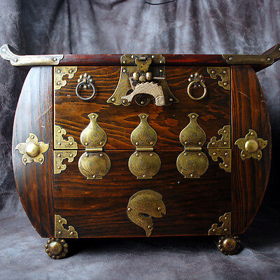 Antique Korean Rolled Edge Wooden Cabinet Chest Made In Korea