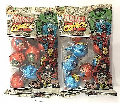 909944 2 x 112.5g BAGS OF MARVEL COMICS MILK CHOC X'MAS TREE DECORATIONS - UK