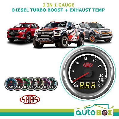 2in1 Analogue Digital Trax Gauge Dual Diesel Turbo Boost & Ext Temperature 52mm