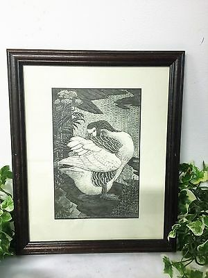 Beautiful Vintage Framed Black & White Bird Print The Gander 1937 CF Tunnicliffe