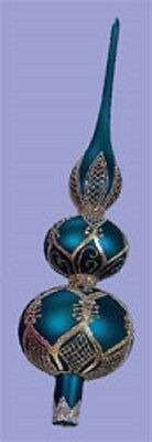 Peacock Blue Glass Christmas Tree Topper Finial
