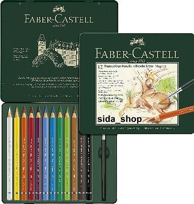 12 Faber Castell Albrecht Dürer Aquarellstifte Magnus Metalletui + Water Brush