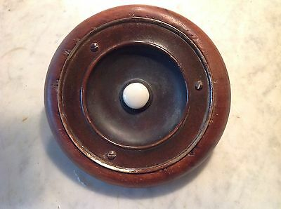 FANTASTIC ORIGINAL OLD VERY LARGE BRASS & CERAMIC BELL PUSH WITH WOOD SURROUNDy