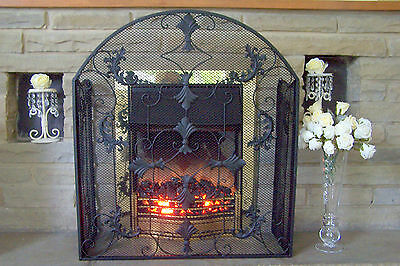 3 Panel BLACK VINTAGE ANTIQUE STYLE FIRE GUARD FIRE SCREEN/FIREGUARD