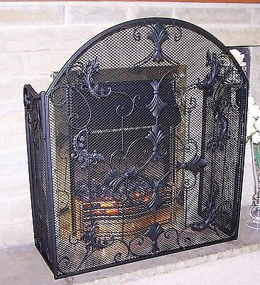 ANTIQUE BLACK VINTAGE STYLE FIRE GUARD  3 Panel FIRE SCREEN/FIREGUARD