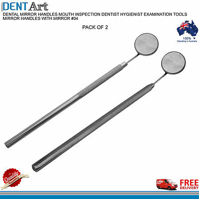 2 x DENTAL MIRRORS HANDLE MOUTH INSPECTION DENTIST HYGIENIST EXAMINATION TOOLS