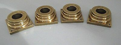Set Of 4 Solid Brass Longcase Case Coloumb Capitals, New Old Stock +