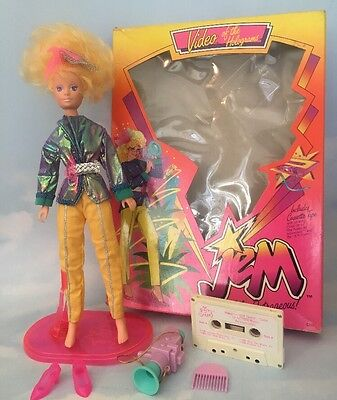 1986 Jem & the Holograms VIDEO doll with Box, Fashions & Accessories Vintage