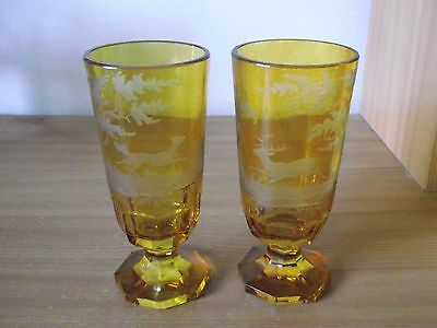 2 Antique Engraved Bohemian Flash / Overlay Glass Beakers / Goblets.
