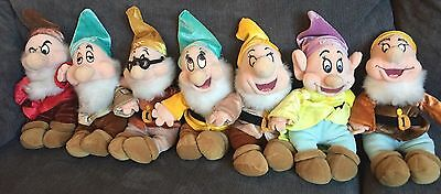 "DISNEY STORE SNOW WHITE & SEVEN DWARVES  8"" SET of 7 BEANIES PLUSH SOFT TOYS"