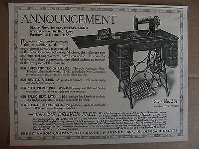 1914 New Companion Sewing Machine Perry Mason Co. Boston antique print ad