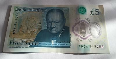 New £5 pound note serial number AD54 715758