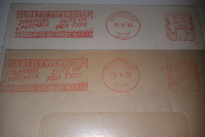 2 x stamped imprints 1949/50 Australian franked stamps - Olivetti Typewriters