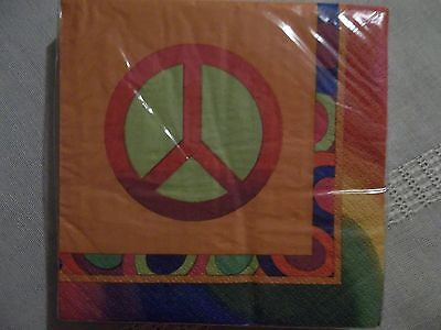 Peace symbol slighly psychedelic paper napkins for 70s hippie party