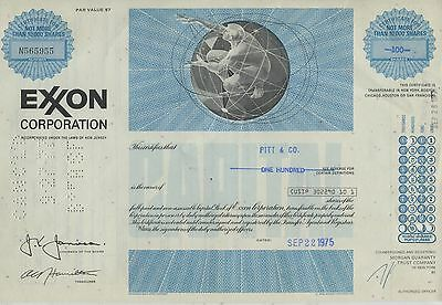 Exxon Corporation New Jersey Capital Stock 100 Shares 1975 Extremely Rare