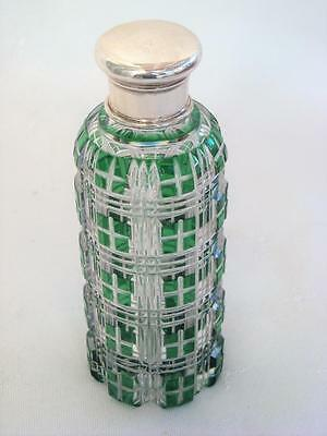 Antique Green Overlay Perfume Scent Bottle Silver Lid Circa 1880