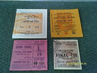 x4 - Leicester City 1960s Football Match Tickets Collection / Job Lot