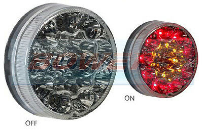 90mm ROUND REAR LED CLEAR COMBINATION STOP/TAIL/INDICATOR TRAILER LAMP/LIGHT