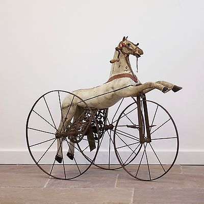 Late 19th Century French Horse Tricycle. Antique Velocipede Children's Toy.