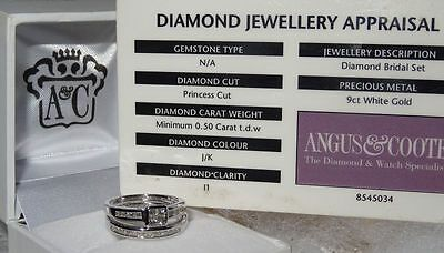 New Angus & Coote 9ct - 9K White Gold 0.50 TCW Princess Cut Diamond Bridal Set