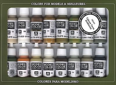 Earth Tones: 16 Paint Set for Models, Hobby (Vallejo 70141)