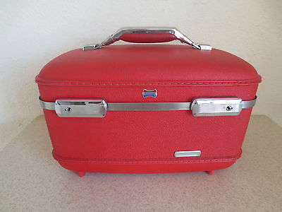 Vintage 1960's American Tourister Train Travel Hard Case Make-up Luggage RED