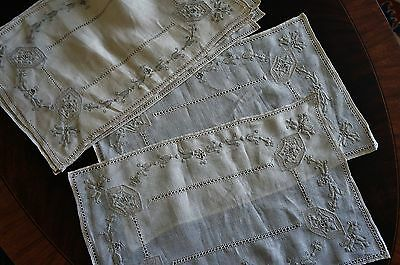 8 Exquiste  Antique Italian Embroidered Ecru Placemats