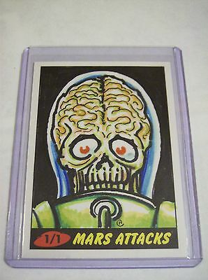1/1 Sketch Neil Camera 2012 Mars Attacks 7 FULL COLOR Topps Heritage Autograph