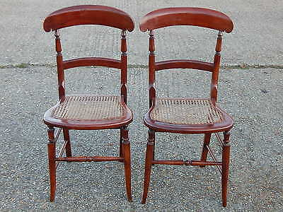 Pair of 2x vintage solid wood bergere seated dining / bedroom / hall chairs