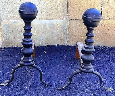 American Antique 1800s  Brass Cannon Ball Andirons PAIR Black Paint