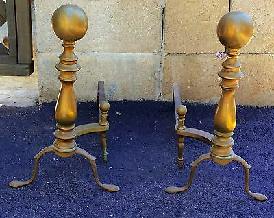 American Antique Solid Brass Cannon Ball Andirons PAIR