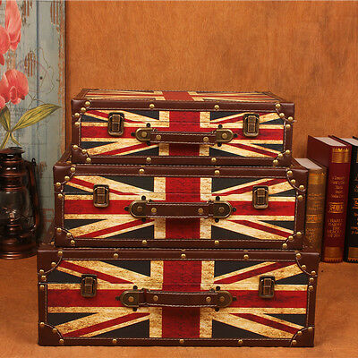 union jack storage suitcases vintage set 3 or in 3 size options home gift office