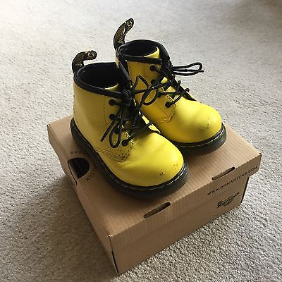 Dr Martens Unisex Toddler Yellow Leather Boot