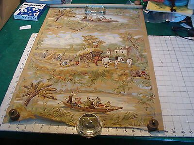 vintage  early wall paper roll - small - as shown - BOAT ON RIVER aprox 60 x 20""