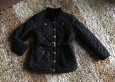 River Island Girls Quilted Black Coat, Sherpa Fleece Lined, Age 10 Years.