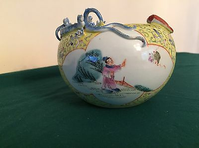 RARE ANTIQUE 1800's  QING DYNASTY STAMPED PORCELAIN BOWL CHINESE WITH DRAGON