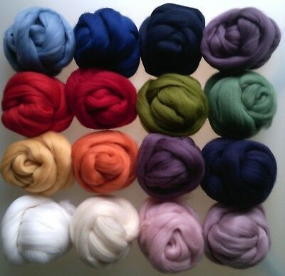 Pure Wool Tops Roving for Felting and Spinning, 28 Colours