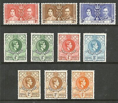 Swaziland G 6 from 1937  selection including perforation varieties mounted mint