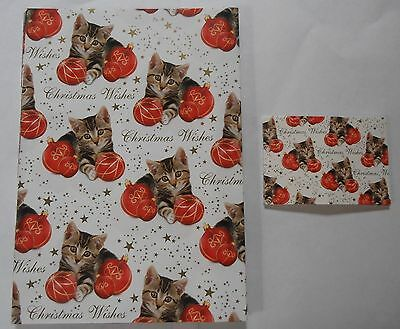 Tabby Kitten Cat Red Gold Baubles Christmas Wishes gift wrap 6 sheets & 6 tags