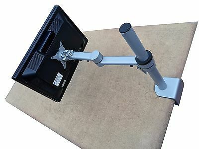 LCD/LED Mount Clamp Silver Swivel Arm Stand Desk Monitor Flexible Adjustable NEW