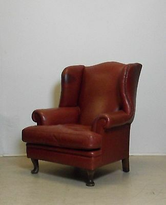 Large Red Leather Chesterfield Wing Back Gentleman's Library Chair Armchair