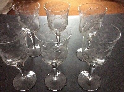 A Matching Set of 6 Vintage Etched Crystal Sheery Glasses