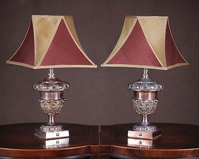 Pair Antique of Sheffield Plate Table Lamps c.1910.