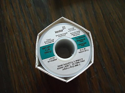 """KESTER NEW ONE POUND LEAD FREE SOLDERS WIRE SN96.5AG03CU.5 #58/275 .50mm(.020"""")2"""