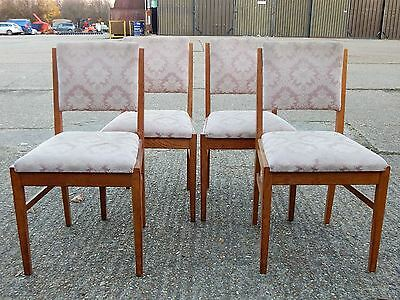 4x Gordon Russell Broadway solid oak & fabric dining chairs mid century vntg 418